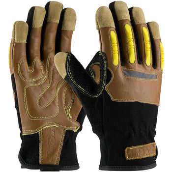PIP 120-4100 - Maximum Safety Reinforced Kevlar Leather Shock Absorbing Gloves, Brown