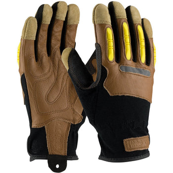 PIP 120-4200 - Maximum Safety Reinforced Leather Abrasion Resistant Gloves, Brown