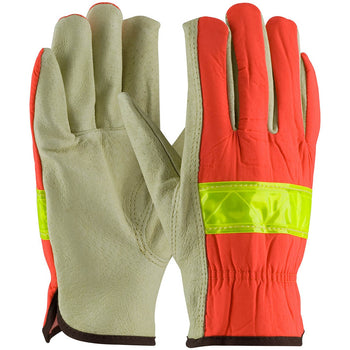 PIP 125-368 - Leather Hi-Vis Drivers Safety Gloves, Orange - 12 Pack