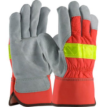 PIP 125-7563 - Leather Hi-Vis Palm Safety Gloves, Orange, Large - 12 Pack