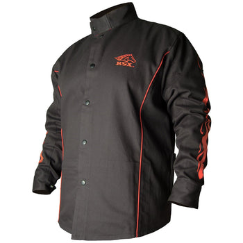 BLACK STALLION BX9C - BSX FR Cotton Welding Jacket, Black w/ Red Flames