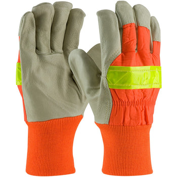 PIP 125-448 - Leather Hi-Vis Insulated Safety Gloves, Orange - 12 Pack