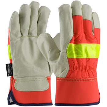 PIP 125-458 - Leather Hi-Vis Insulated Safety Gloves, Orange - 12 Pack