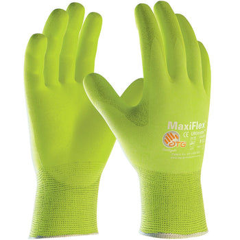 PIP 34-874FY - ATG Maxiflex Ultimate Hi-Vis Seamless Nitrile Nylon and Lycra Gloves, Yellow - 12 Pack