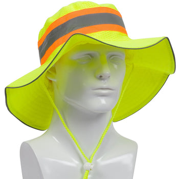 PIP 350-RANGER - Hi-Vis Reflective Sun Protection Ranger Hat, Yellow