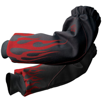Revco Black Stallion BSX BX-19S-BK FR Welding Arm Protection Sleeves with Red Flames