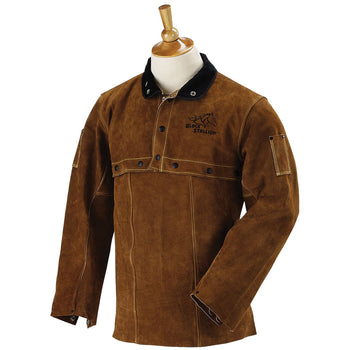BLACK STALLION 220CS - FR Leather Sleeve and Bib Combo Kevlar Welding Jacket
