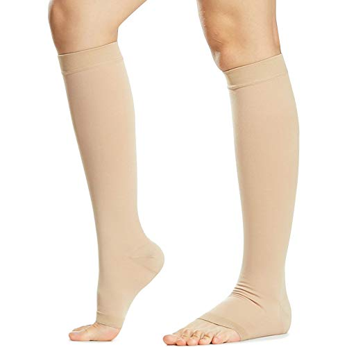 ed468656094ab Beister Open Toe Knee High Calf Compression Socks For Women &Amp; Men, Firm  20-30 Mmhg Graduated Support Hosiery For Varicose Veins, Edema, Flight, ...