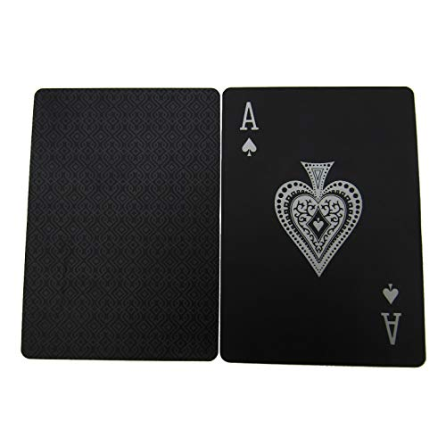 Magic Tricks Tools for Family Party Game or Collection Bonket 2 Pcs Waterproof PVC Poker Card,Black Playing Games Cards Set