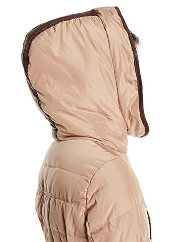 5e28bf393 Kensie Women'S Belted Down Coat With Faux Fur Lined Hood, Camel, X-Small