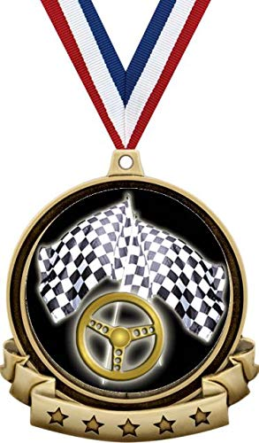 Racing Medals - 2 5 Gold Street Race Steering Wheel Medal Award Includes  Red White And Blue Neck Ribbon, Great Auto Awards Prime