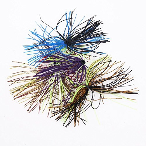 Kathy Store Inc 6 Bundles, 50 Strands Premium Silicone Skirts Assorted  Color Fishing Skirt Lures For Diy Spinnerbatis Buzzbaits Rubber Jig Lures,