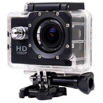 1080P Full HD Sports Action Camera 30M DV Water Resistant with Accessories in Black