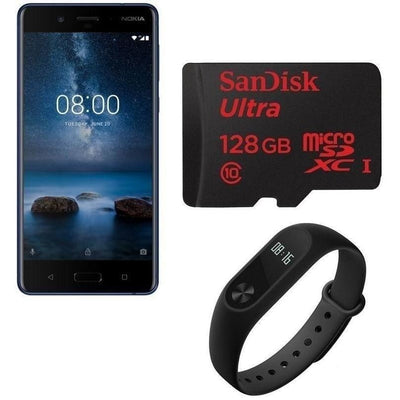 Nokia 8 Dual Sim - 64GB 4GB Ram 4G LTE Tempered Blue with SanDisk Ultra 128GB microSDXC Card and Xiaomi Mi Band 2 with OLED Screen and Heart Rate Monitor, Black