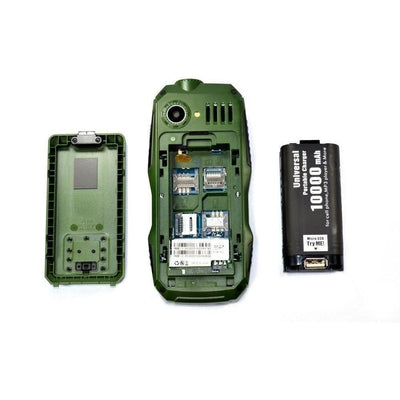 2 in 1 Rugged Dual Sim Mobile (10,000mah) Power Bank Battery [STT-GREEN/BLACK]