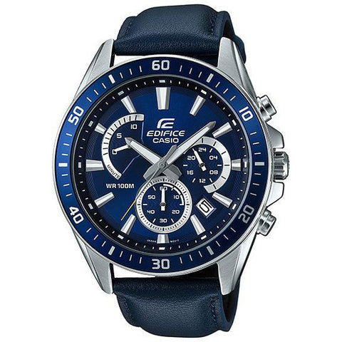 Blue Casio Men Watches Edifice Date Day 24h Stopwatch  EFR-552L-2A