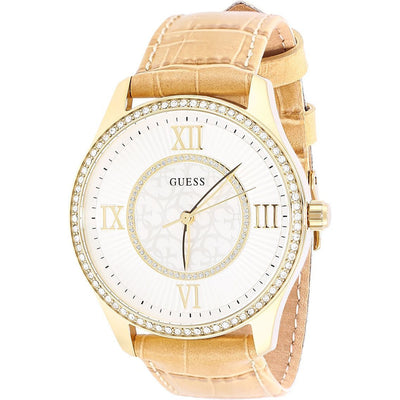Guess Women's Grey Dial Leather Band Watch - W0768L2