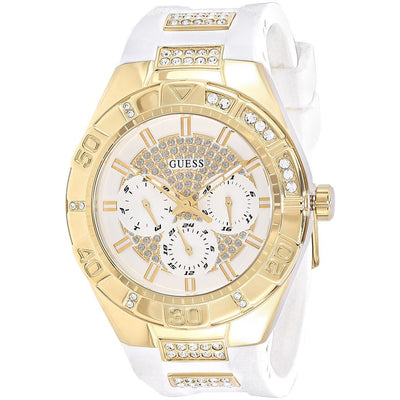 Guess Luna Women's White Dial Rubber Band Multifunction Watch - W0653L3
