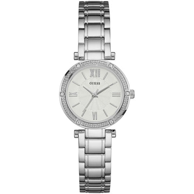Guess Women's White Dial Stainless Steel Band Watch - W0767L1