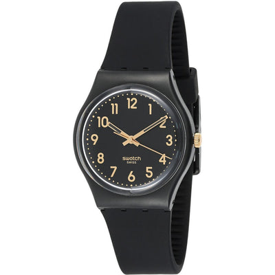 Swatch Women's Black Dial Silicone Band Watch - GB274
