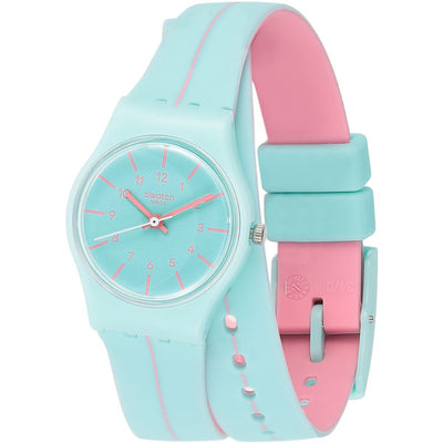 Swatch Women's Blue Dial Plastic Band Watch - LL118