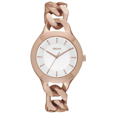 DKNY Women's Rose Gold Dial Stainless Steel Band Watch - NY2218