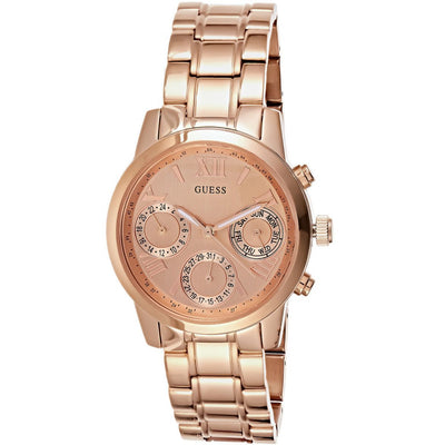 Guess Women's Rose Gold Dial Stainless Steel Band Watch - W0448L3
