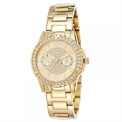 Guess Women's Gold Dial Stainless Steel Band Watch - W0705L2