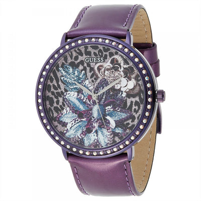 Guess Women's Purple Dial Leather Band Watch - W0820L3