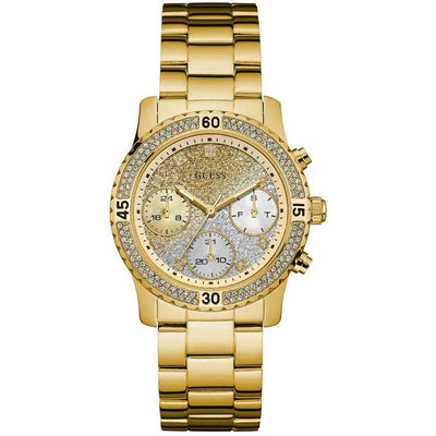 Guess Women's Gold Dial Stainless Steel Band Watch - W0774L5