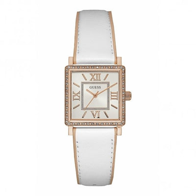 Guess Women's White Dial Leather Band Watch - W0829L11