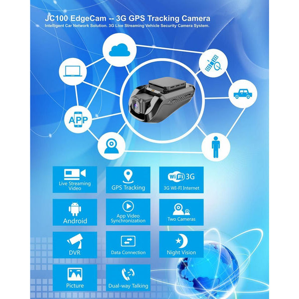 Jimi Internal Camera with car tracking, support 3G and WIFI - Jc100 -Black