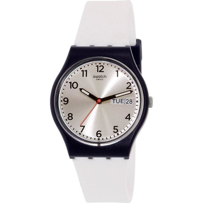 Swatch Originals Women's Silver Dial Silicone Band Watch - GN720