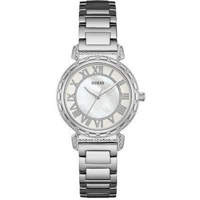 Guess Women's White Dial Stainless Steel Band Watch - W0831L1