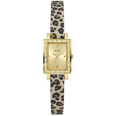 Guess Women's Gold Dial Leather Band Watch - W0888L3