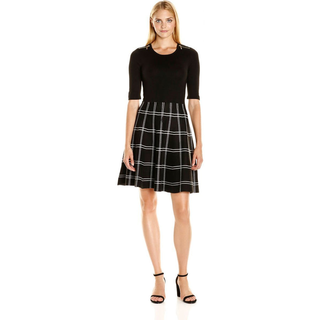 cd1a9dd9 Ivanka Trump Women's Short Sleeve Plaid Skirt Sweater Dress, Black/Black /Ivory,