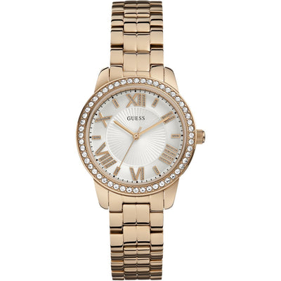 Guess Women's White Dial Stainless Steel Band Watch - W0444L3