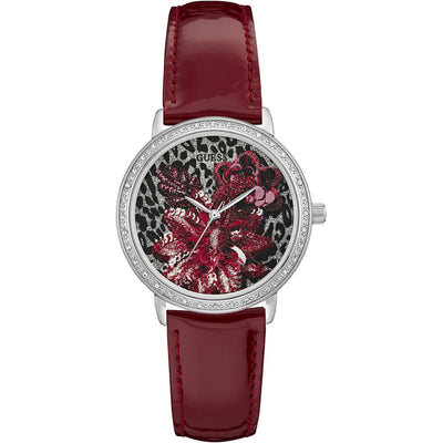 Guess Women's Little Wild Flower Dial Leather Band Watch - W0821L1