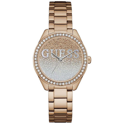 Guess Women's Rose Gold Dial Stainless Steel Band Watch - W0987L3