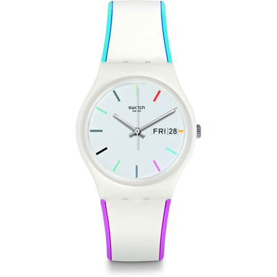 Swatch Women's White Dial Silicone Band Watch - GW708