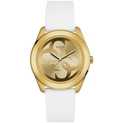 Guess Women's Gold Dial Leather Band Watch - W0911L7