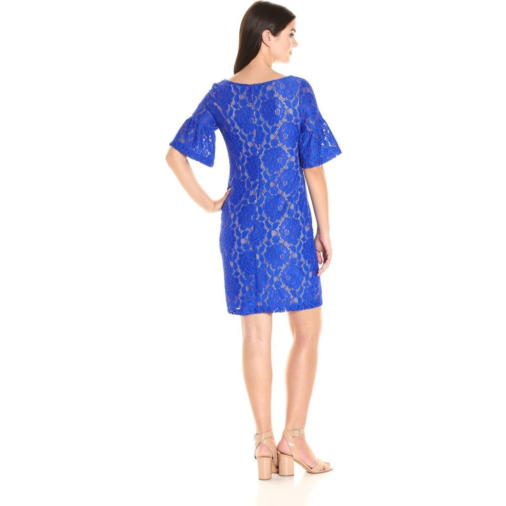 Ivanka Trump Womens Ruffle Sleeved Lace Dress Sea Blue 14