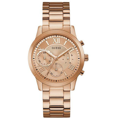 Guess Solar Women's Rose Gold Dial Stainless Steel Band Watch - W1070L3