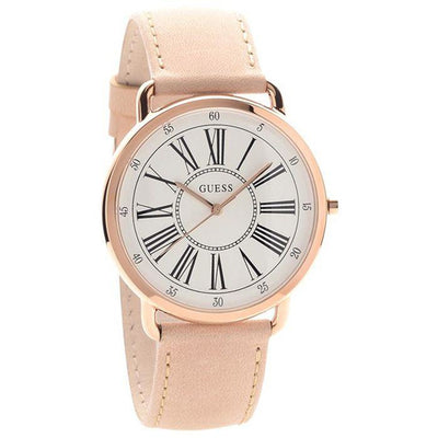 Guess Kennedy Women's White Dial Leather Band Watch - W1068L5