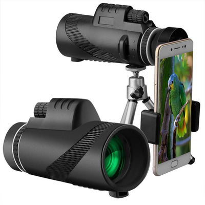 Monocular Telescope 40x60 High Power BAK4 Prism FMC Lens Waterproof Scope with Quick Smartphone Holder and Tripod Camera Remote Control