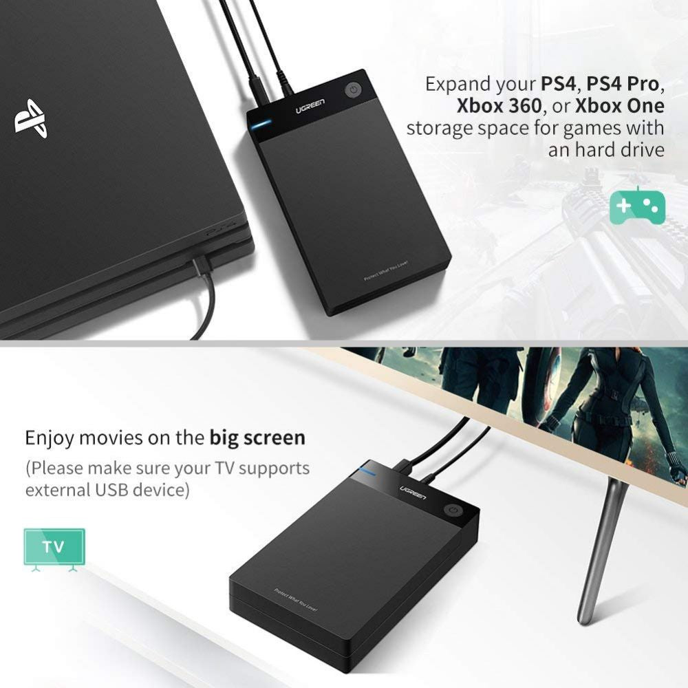 UGREEN External Hard Drive Enclosure 3 5 USB 3 0 to SATA Hard Disk Case  Housing with Power Adapter for 3 5 2 5 Inch