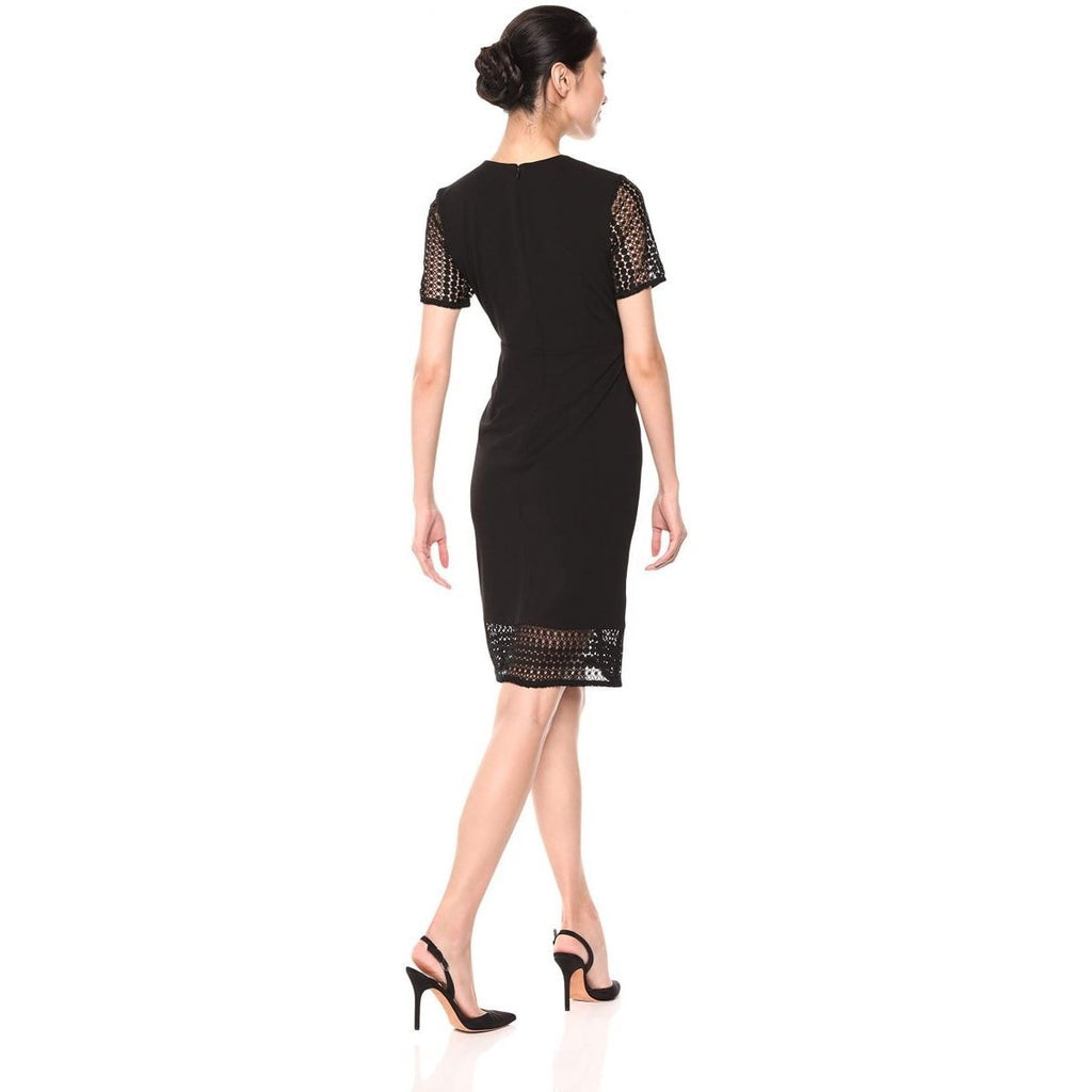 Ivanka Women's Sleeve Trump Crepe Lace Scuba DressBlack Cap Sheath Nv80mwn