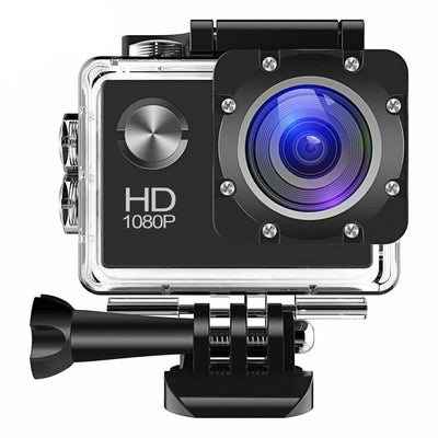 Action Camera 1080P 12MP Sports Camera Full HD 2.0 Inch Action Cam 30m/98ft Underwater Waterproof Camera with Mounting Accessories Kit (Black)