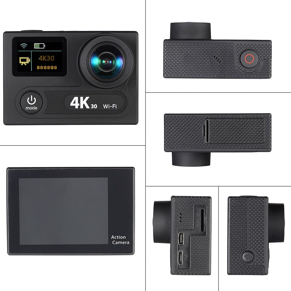 Wifi Sports Action Camera 2Inch Dual LCD Screen 360 VR Play 4K 30fps 1080P  60fps 12MP Ultra HD 170°Wide-angle Waterproof 30M Cam DVR FPV