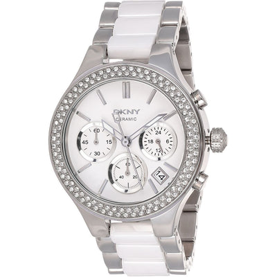 DKNY Women's White Dial Steel and Ceramic Band Watch - NY8181